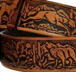 "Wolf, Hare, Mountain Lion Embossed Full Grain Leather Belt - 1½"" (38mm) Wide. Design: EM034"